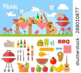 flat design picnic bbq elements ... | Shutterstock .eps vector #288010877