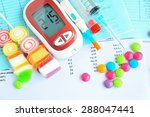 glucometer with unhealthy food... | Shutterstock . vector #288047441