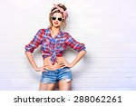 pretty pin up girl alluring by... | Shutterstock . vector #288062261