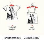 t shirt and bag design.woman... | Shutterstock . vector #288063287
