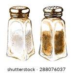 watercolor salt and pepper... | Shutterstock .eps vector #288076037