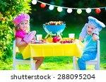 children grilling meat. family... | Shutterstock . vector #288095204