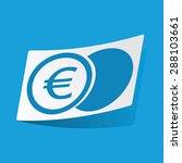 sticker with euro coin icon ...