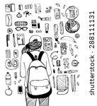 what in my bag   a lot of... | Shutterstock .eps vector #288111131