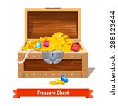 treasure chest full of gold... | Shutterstock .eps vector #288123644
