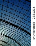 modern roof structure, berlin central station - stock photo