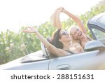 excited female friends enjoying ... | Shutterstock . vector #288151631