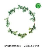 spruce wreath. watercolor vector | Shutterstock .eps vector #288166445