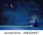 vector night winter landscape...