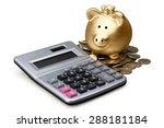 savings  piggy bank  calculator.   Shutterstock . vector #288181184