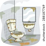 illustration of a dirty toilet... | Shutterstock .eps vector #288187769