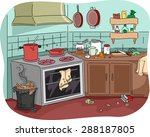 illustration of a dirty kitchen ... | Shutterstock .eps vector #288187805