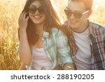 young man and woman sitting in... | Shutterstock . vector #288190205