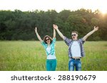 young man and woman outdoors....   Shutterstock . vector #288190679