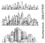 hand drawn big cities... | Shutterstock .eps vector #288197909