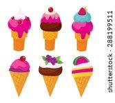 a set of ice cream cones vector ...   Shutterstock .eps vector #288199511