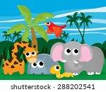 cartoon wild jungle with wild... | Shutterstock .eps vector #288202541