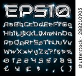 vector set of metallic letters... | Shutterstock .eps vector #288210905
