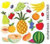 assorted collection of fruits... | Shutterstock .eps vector #288217865