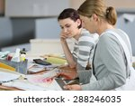 painter with apprentice showing ... | Shutterstock . vector #288246035
