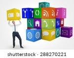 businessman bending and pushing ... | Shutterstock . vector #288270221