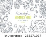 summer food frame. linear... | Shutterstock .eps vector #288271037