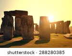 Stock photo historical monument stonehenge in the sunset england uk 288280385