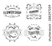 vintage flower shop labels set.... | Shutterstock .eps vector #288297059