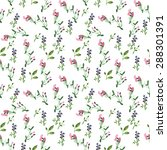floral watercolor print | Shutterstock . vector #288301391