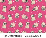 Stock vector vector illustration seamless vector pattern with pugs 288312035