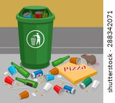 overflowing trash can | Shutterstock .eps vector #288342071