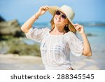 young girl in sunglasses and a... | Shutterstock . vector #288345545