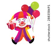 happy colorful clown holding... | Shutterstock .eps vector #288358691