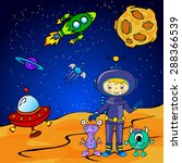 funny monster aith astronaut | Shutterstock . vector #288366539