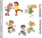 kid summer sport set. children... | Shutterstock .eps vector #288383771