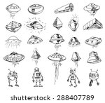set of ufos. drawing sketch.... | Shutterstock .eps vector #288407789