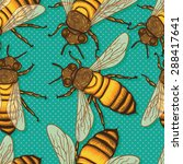 seamless pattern with honey... | Shutterstock .eps vector #288417641