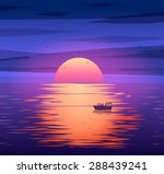 a sailing boat with misty... | Shutterstock .eps vector #288439241