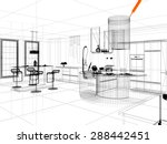 3d linear kitchen interior | Shutterstock . vector #288442451