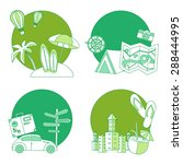 vacation icons set. flat style ... | Shutterstock .eps vector #288444995