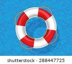 Lifebuoy Floating On Blue Wate...