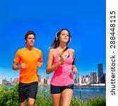 couple running in new york...   Shutterstock . vector #288448115