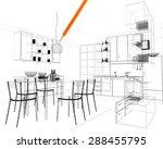 3d linear kitchen interior | Shutterstock . vector #288455795