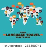 people icons on world map with... | Shutterstock .eps vector #288500741