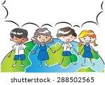 students talk with blank speech ... | Shutterstock .eps vector #288502565