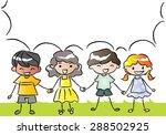 children talk with blank speech ... | Shutterstock .eps vector #288502925