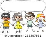 kids holding hands with blank... | Shutterstock .eps vector #288507581