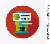 coffee machine flat icon with...   Shutterstock . vector #288517517