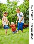 two helpful children helping... | Shutterstock . vector #288521741