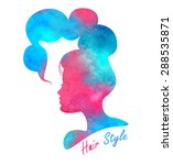 silhouette head with watercolor ... | Shutterstock .eps vector #288535871